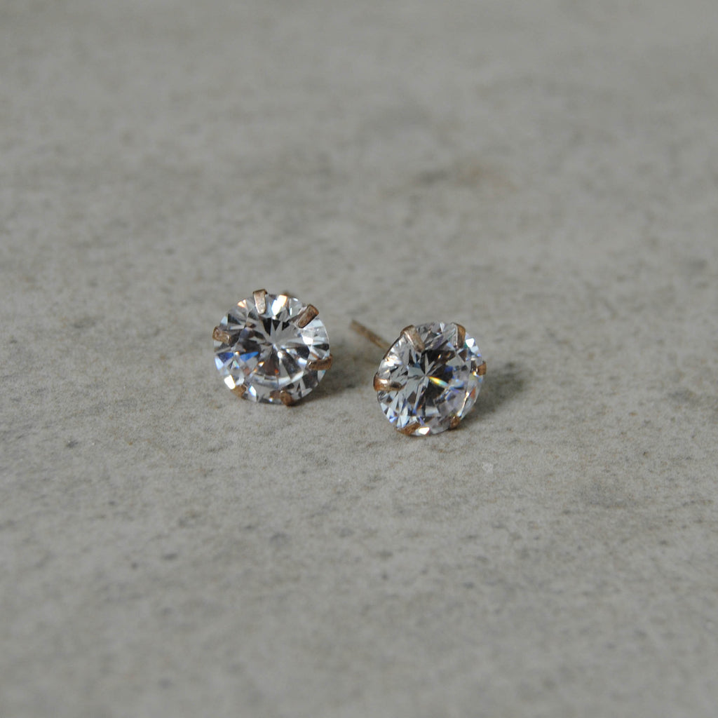 10mm CZ Round Stud with Sterling Silver