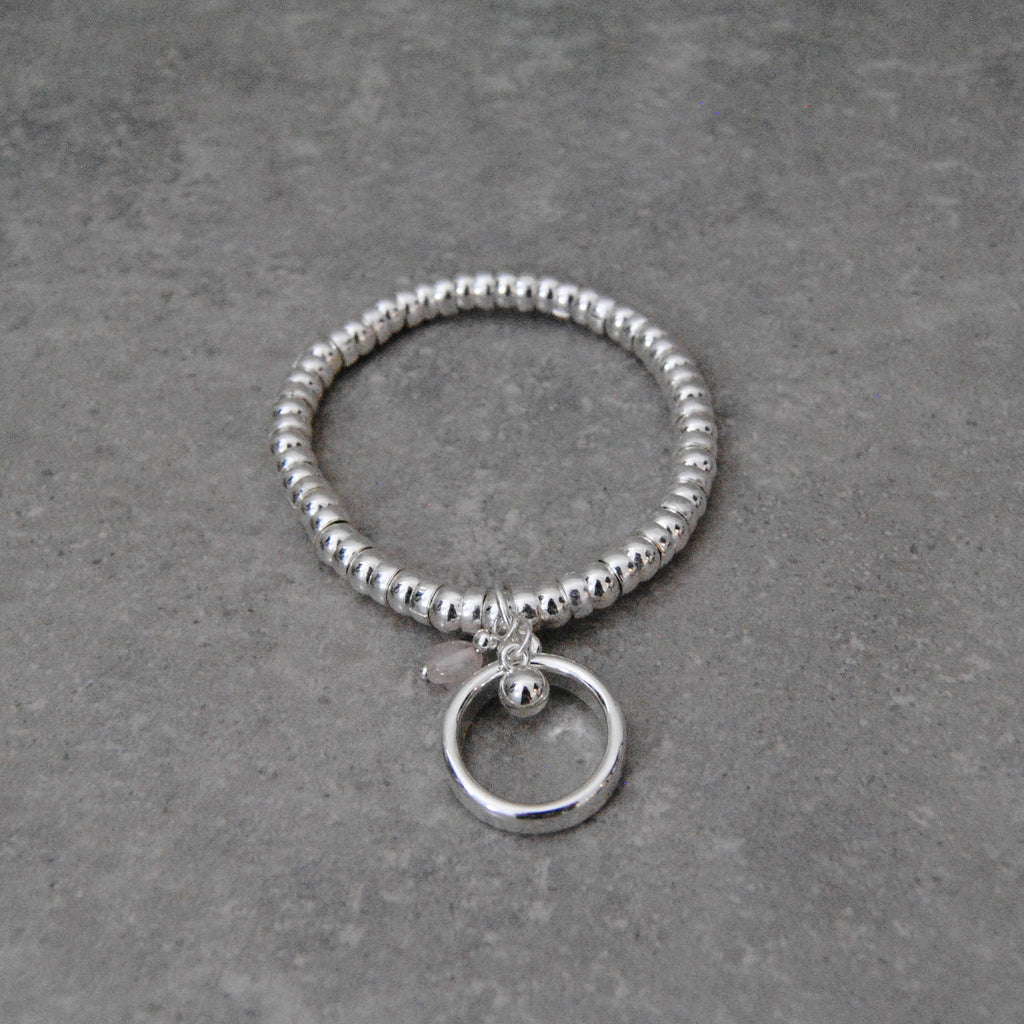 Silver Stretch Bracelet with Silver Ring