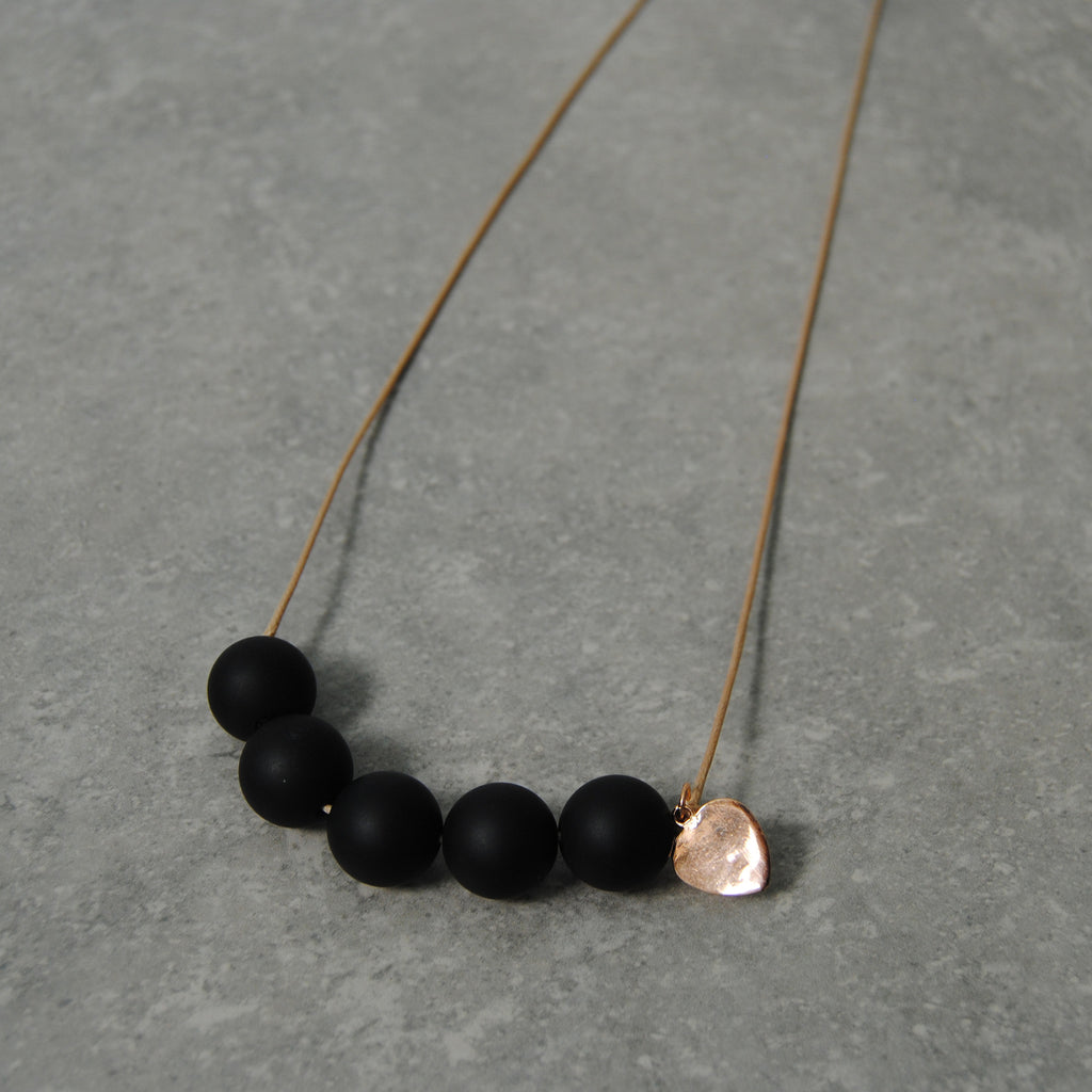 Black Bead Necklace with Rose Gold Heart