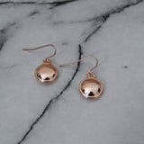 Rose Gold Mini Disk Drop Hook Earring