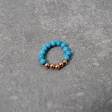 Stretch Turquoise & Rose Gold Beaded Stacking Ring