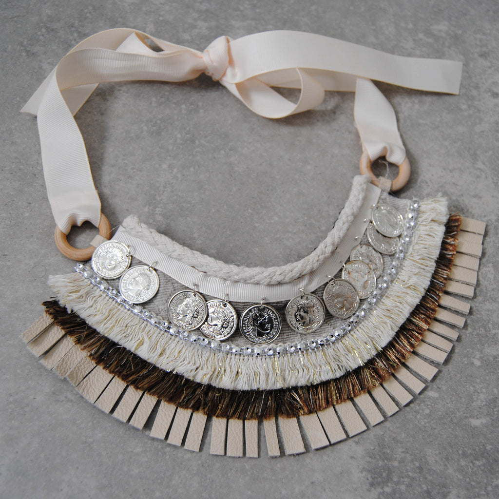 Cream Leather & Braided Statement Necklace with Silver Medallions
