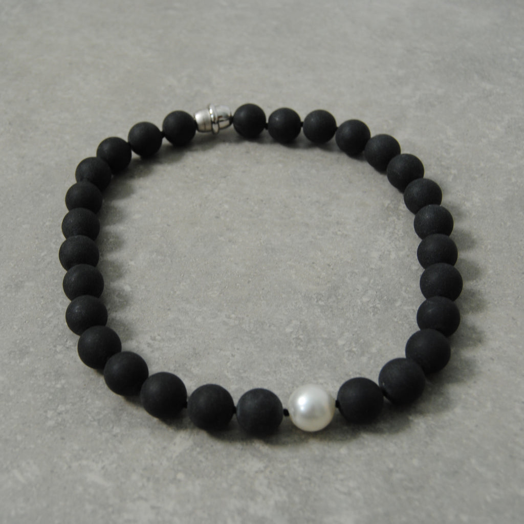 Matte Black & Pearl Necklace
