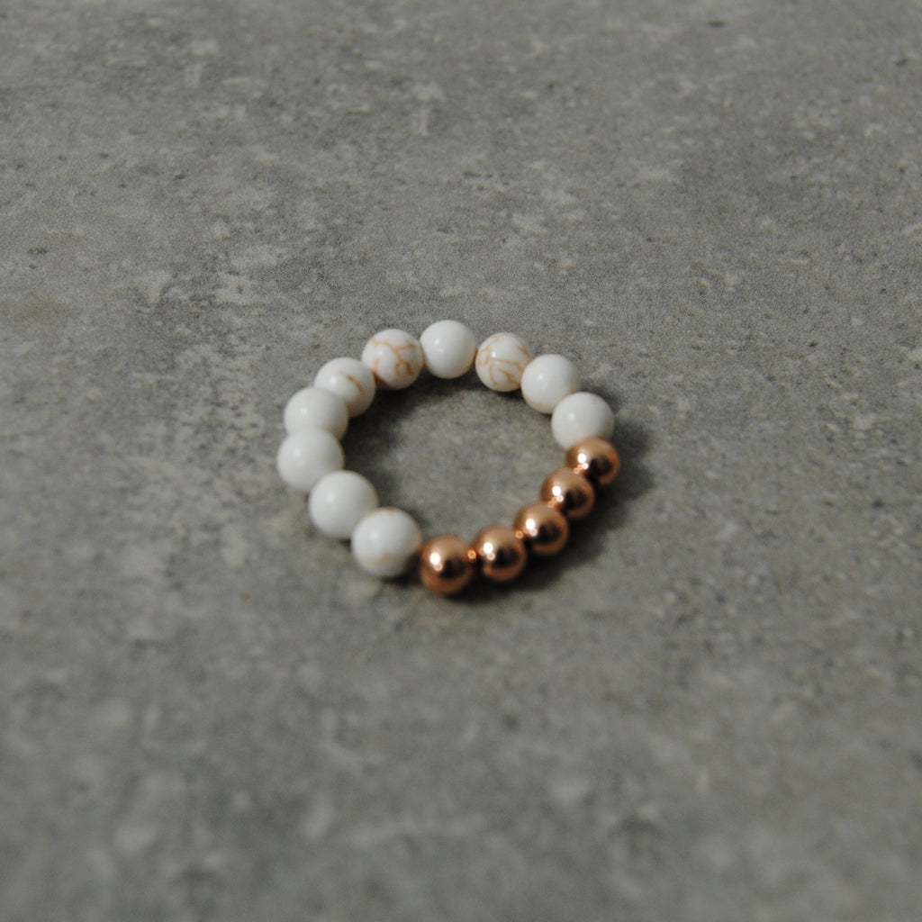 Beaded Ivory Howlite Rose Gold Stacking Ring