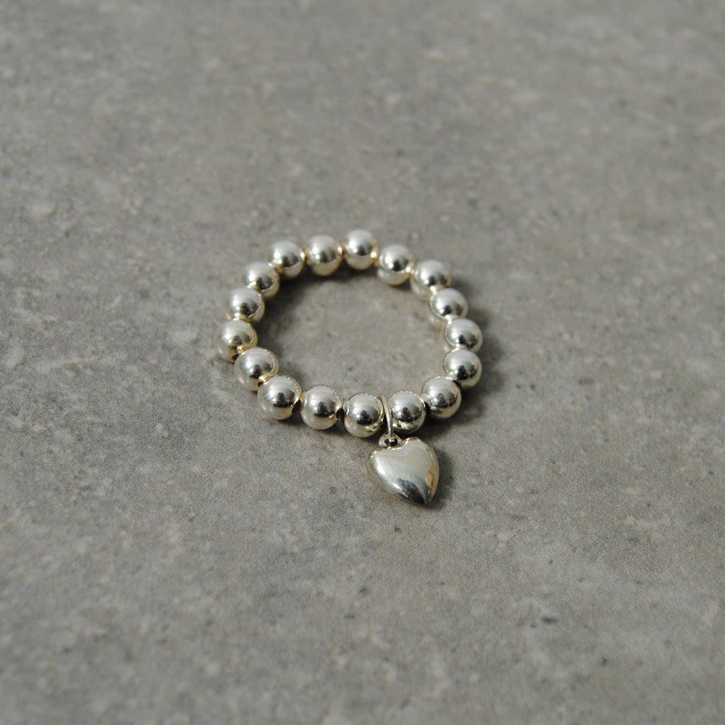 Silver Beaded Heart Stacking Ring