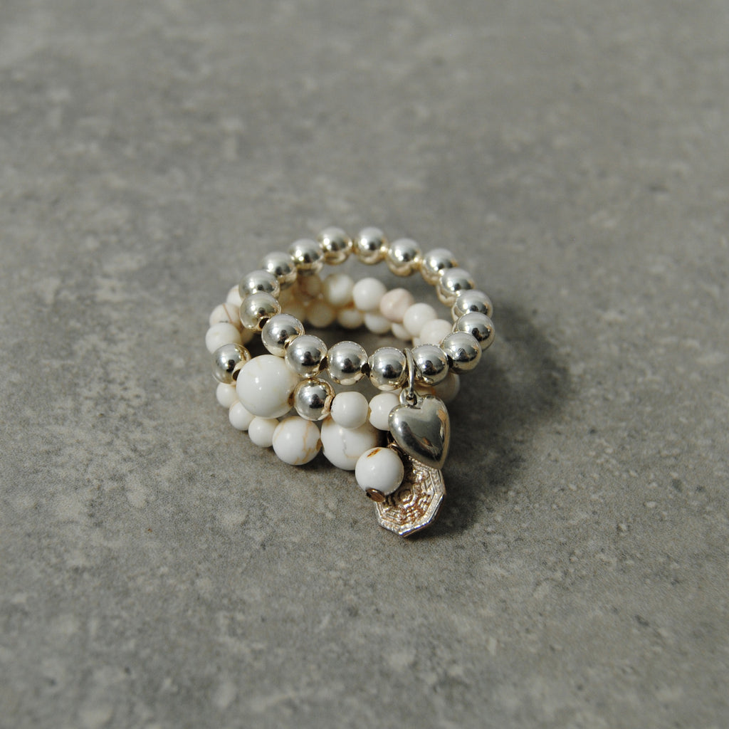 Ivory Howlite & Silver Stacking Rings