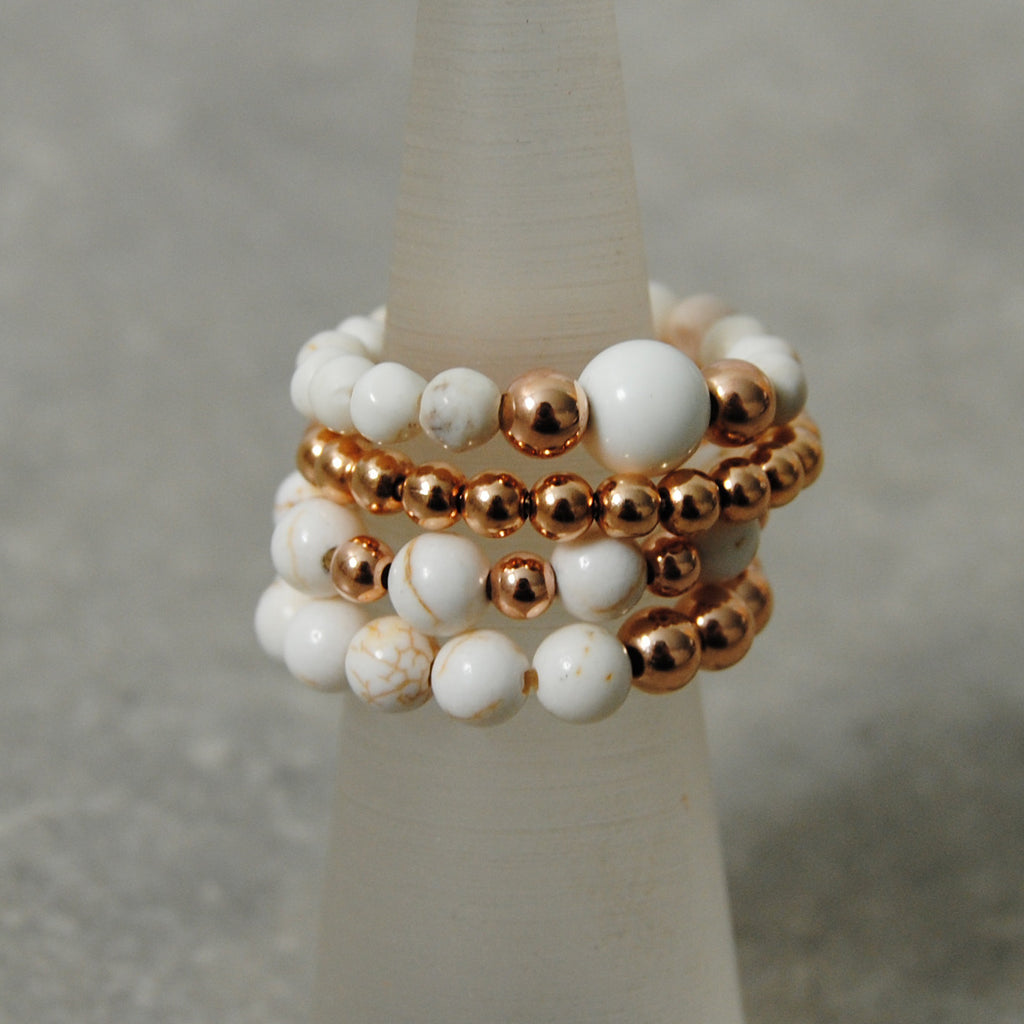 Ivory Howlite & Rose Gold Stacking Rings