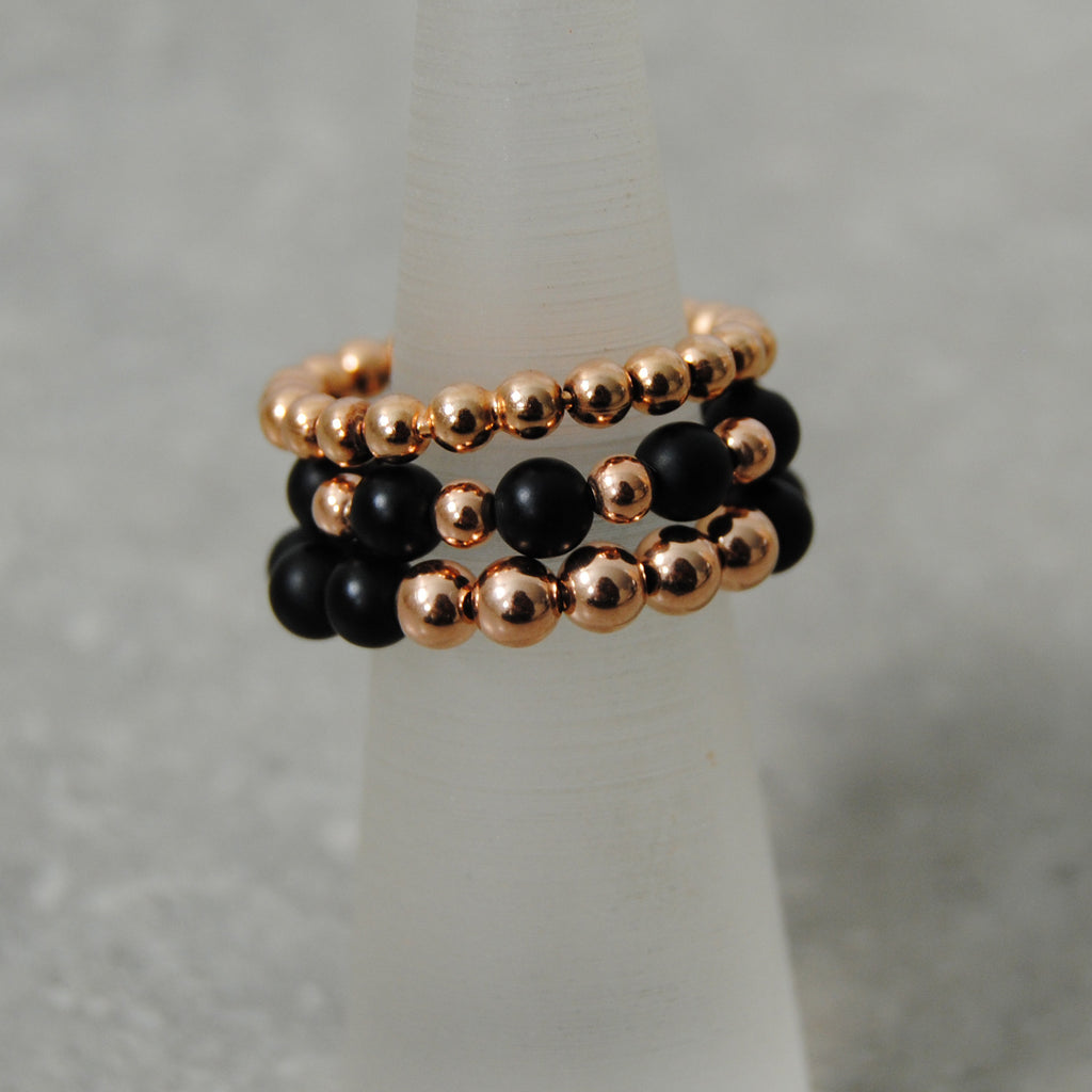 Rose Gold & Black Onyx Stacking Rings
