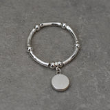 Silver Stretch Bangle Bracelet with Silver Disc