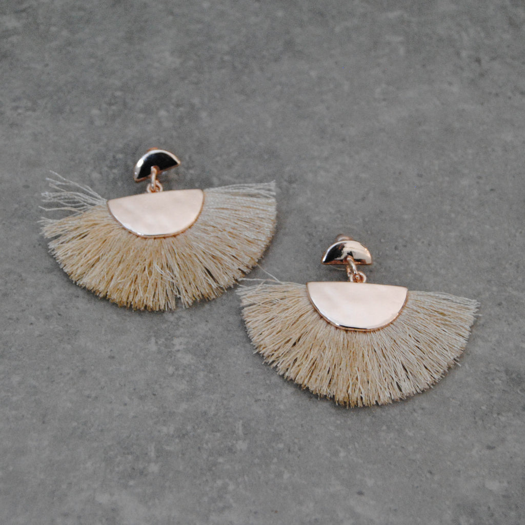 Rose Gold Metal Crescent with Natural Cotton Fring Earring