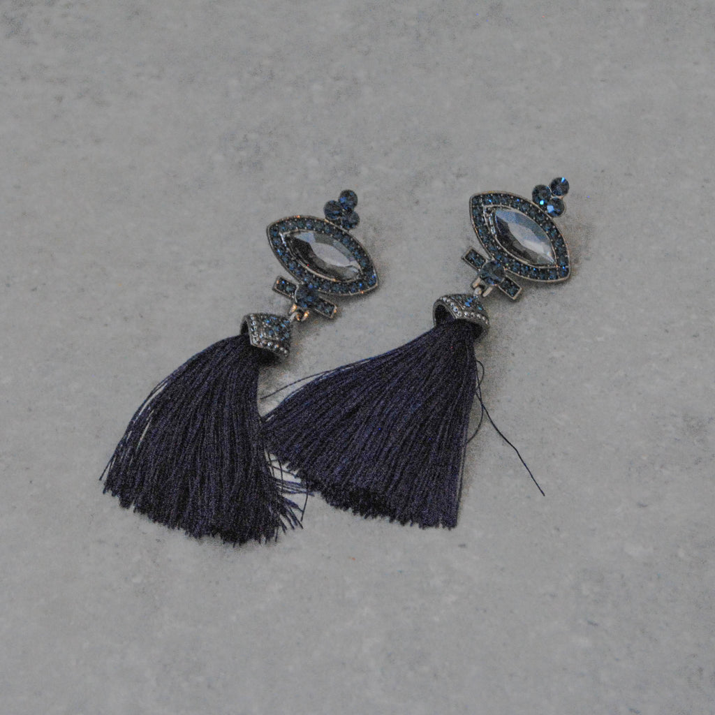 Gunmetal and Navy Vintage Almond and Tassel Earring