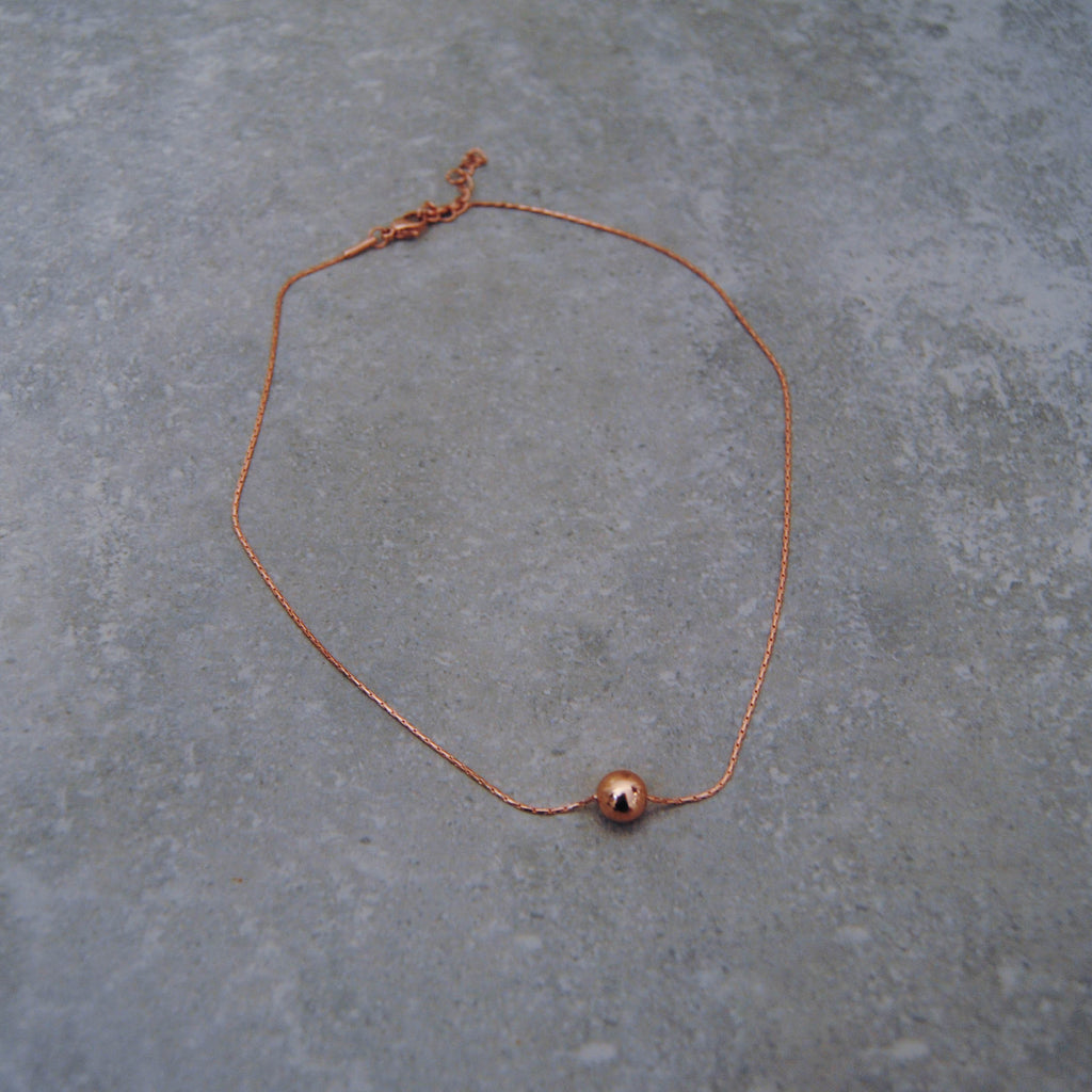 Rose Gold metal snake chain with Rose Gold ball
