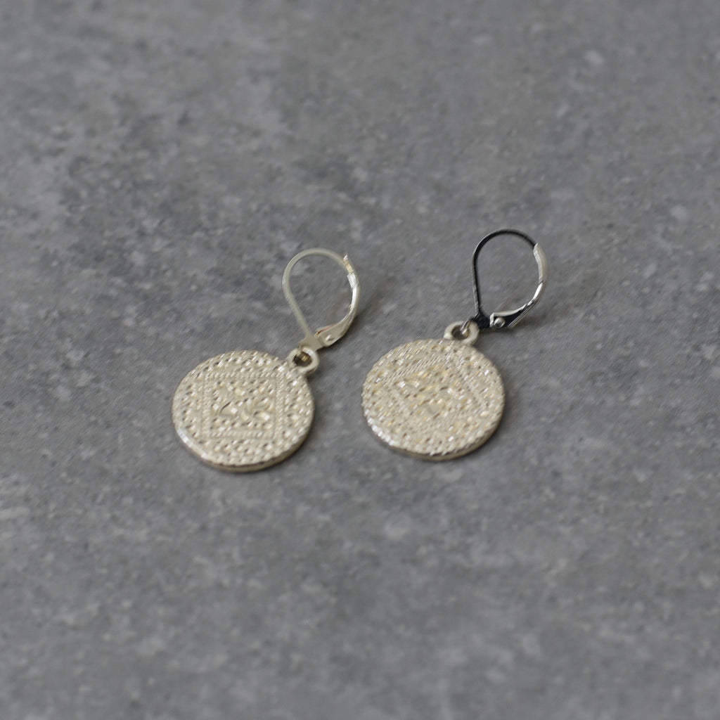 Soft Gold Embossed Disk on French Hook Earring