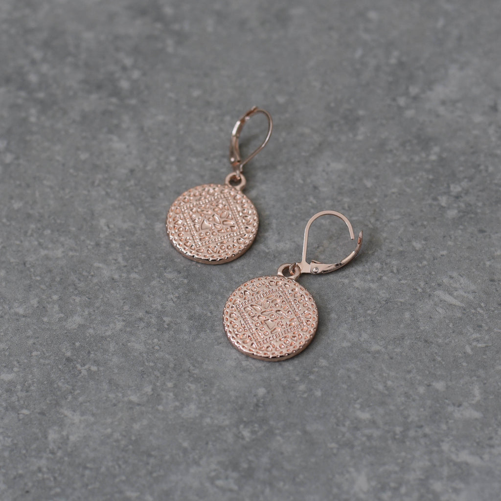 Rose Gold Embossed Disk on French Hook Earring