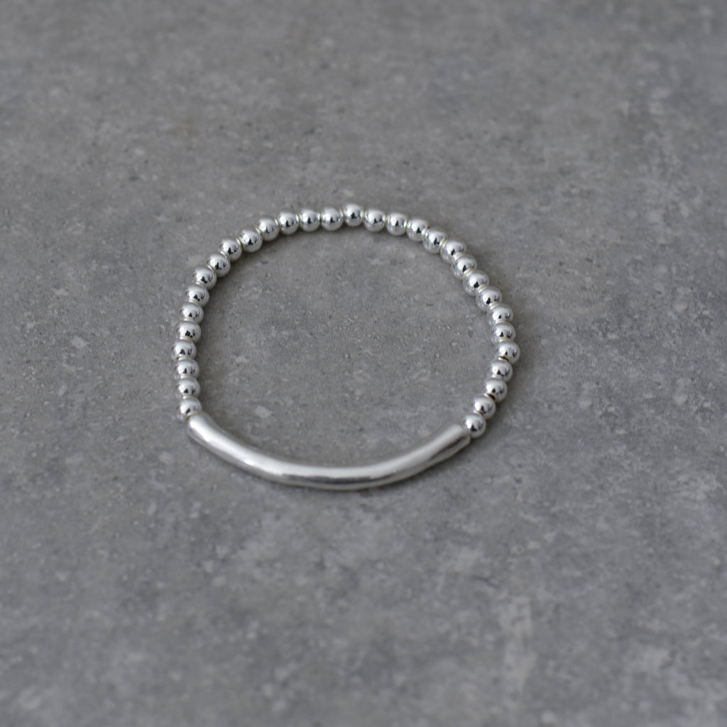 Silver Stretch Ball Bracelet with Silver Bar