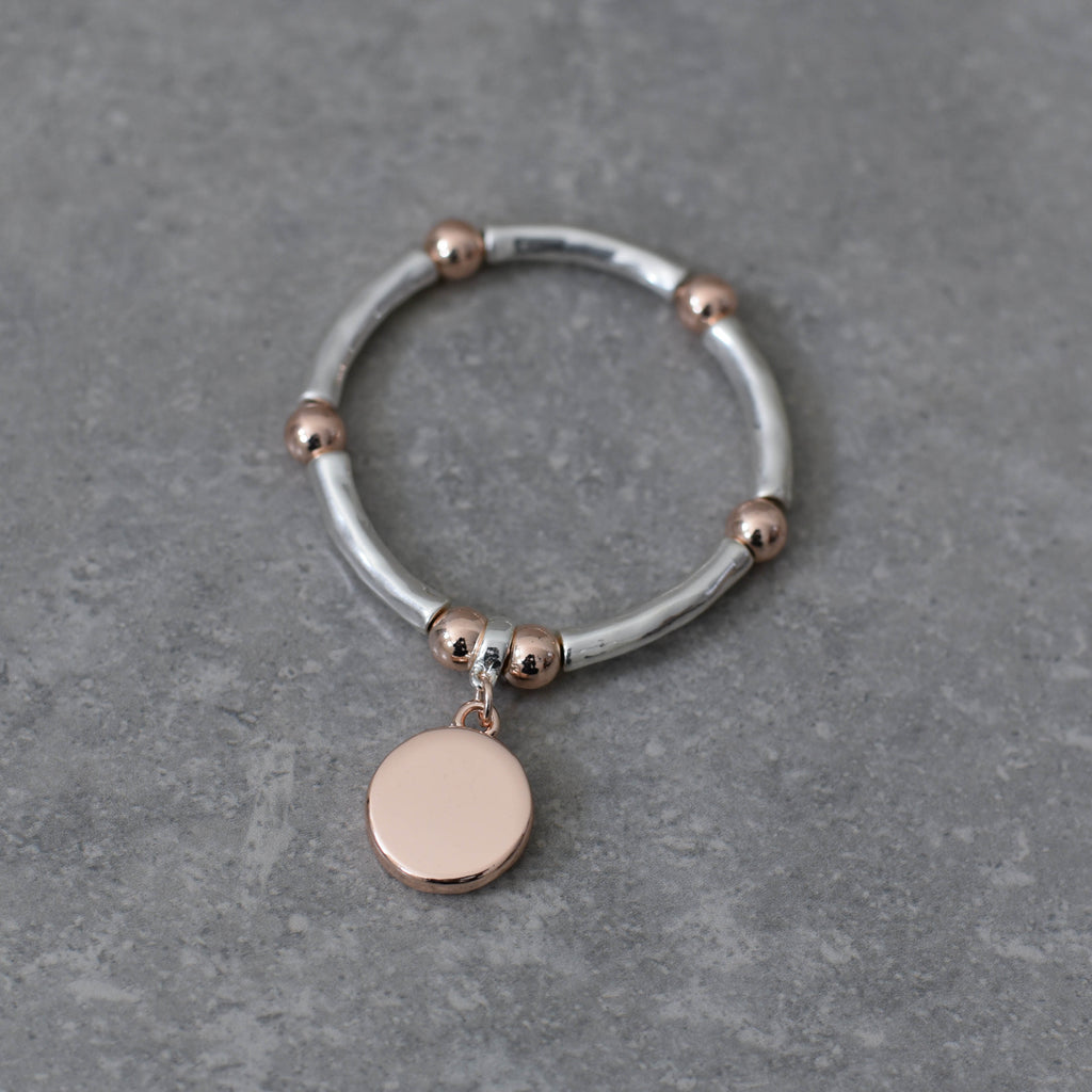 Silver and Rose Gold Stretch Bangle Bracelet with Rose Gold Disc