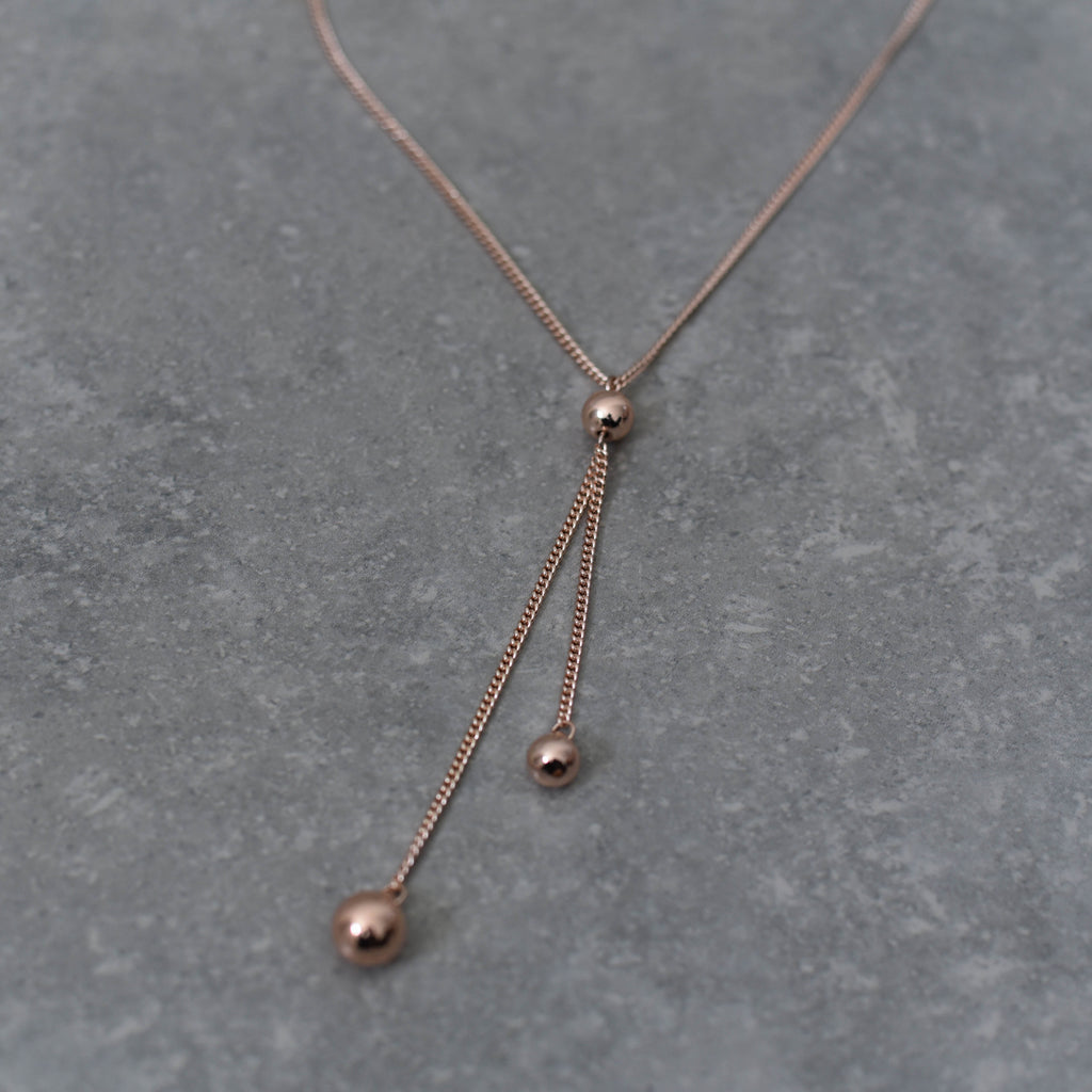 Fine Rose Gold Necklace with Ball and Double Drop
