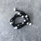 Black Suede with Freshwater Pearls Necklace/Wrist Wrap