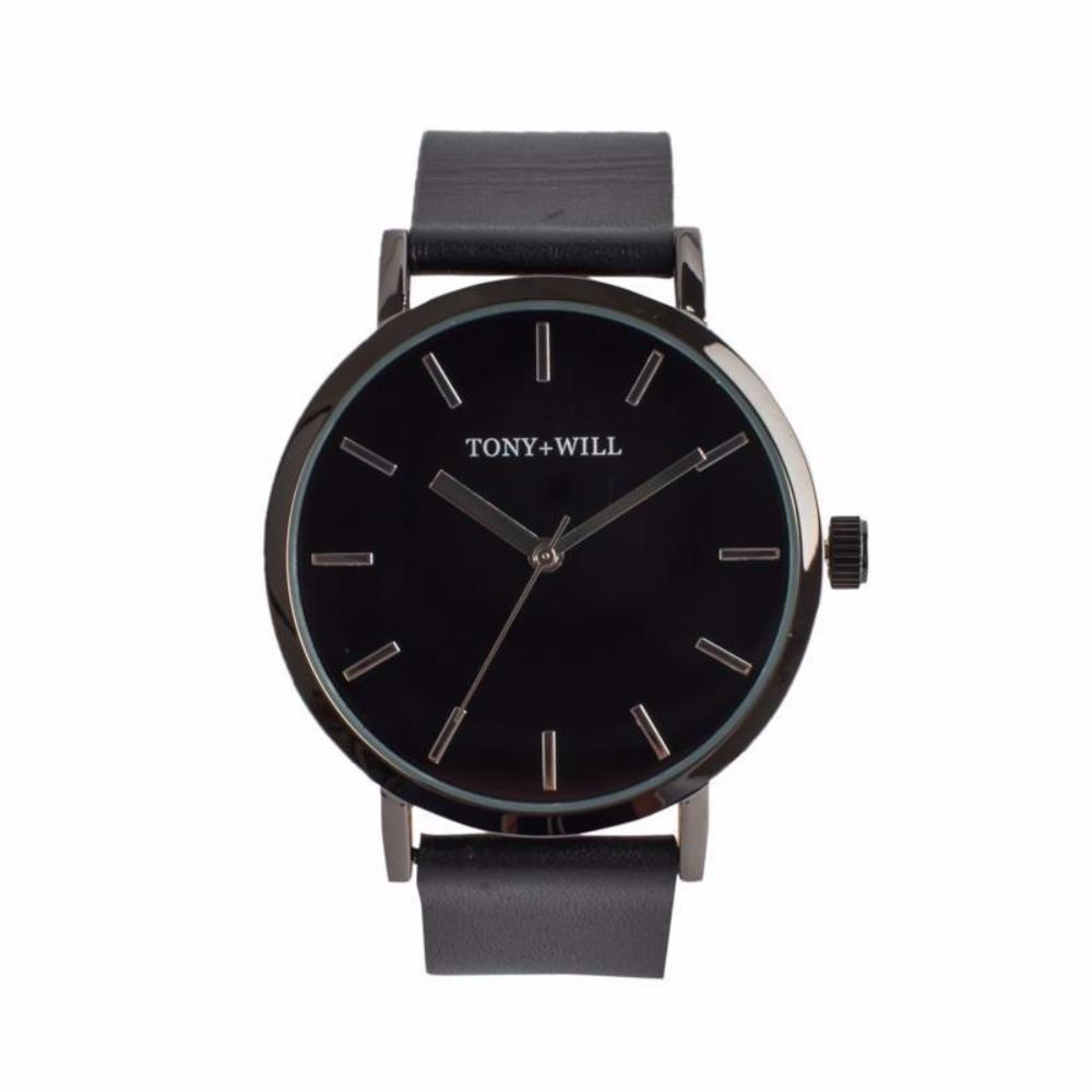 Silver & Black Leather Watch