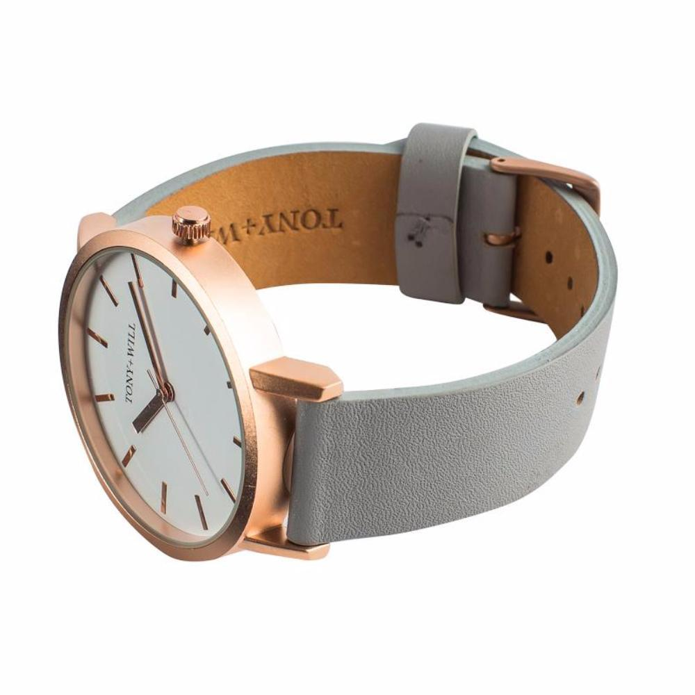 Rose Gold & Grey Leather Watch