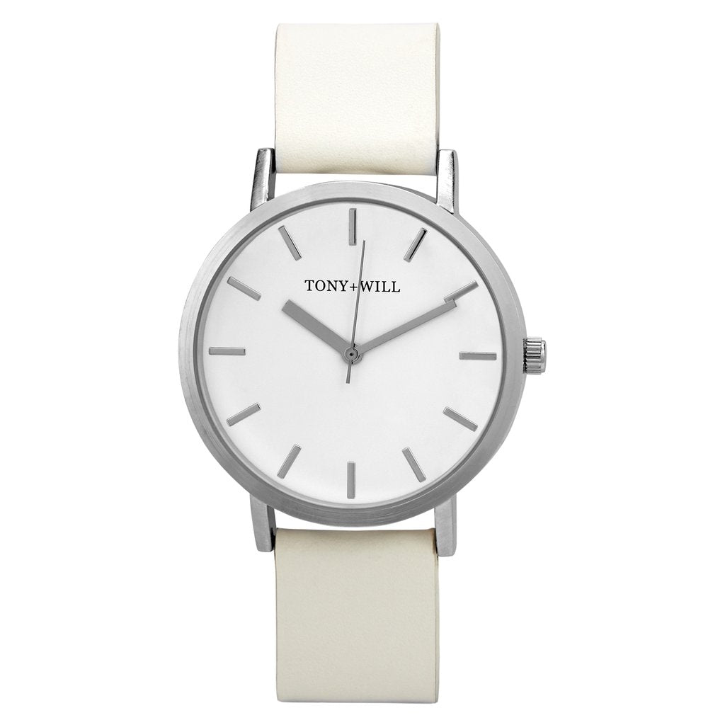 Silver & White Leather Watch