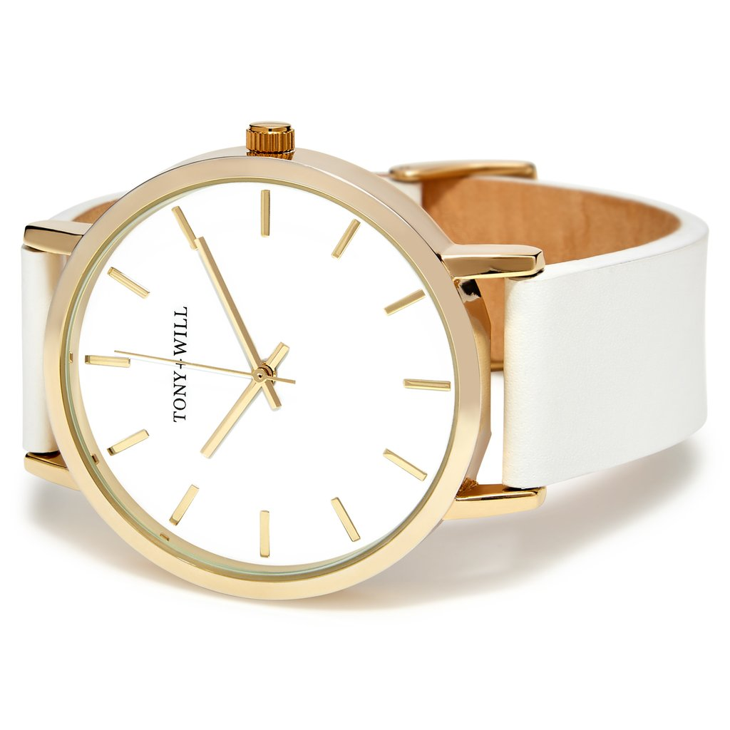White Leather & Gold Watch