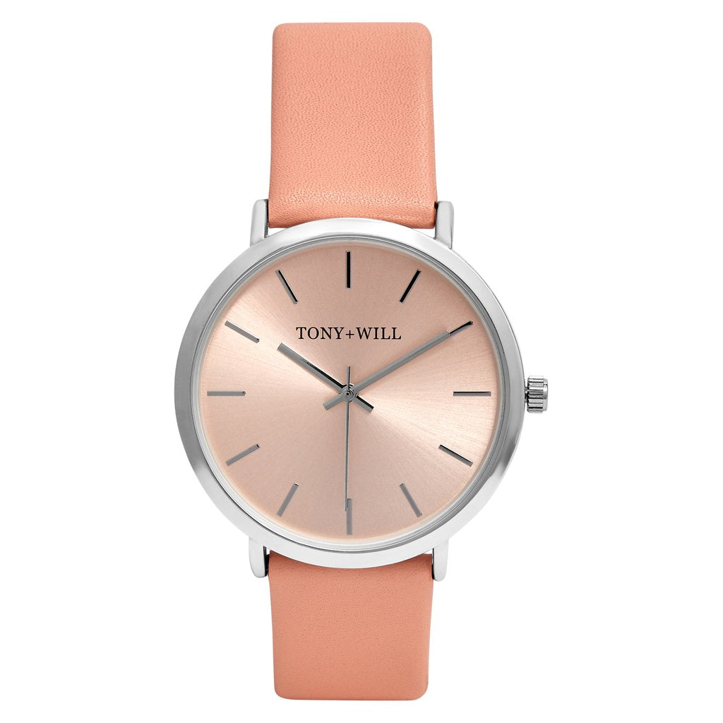 Rose Gold/Silver & Peach Leather Watch