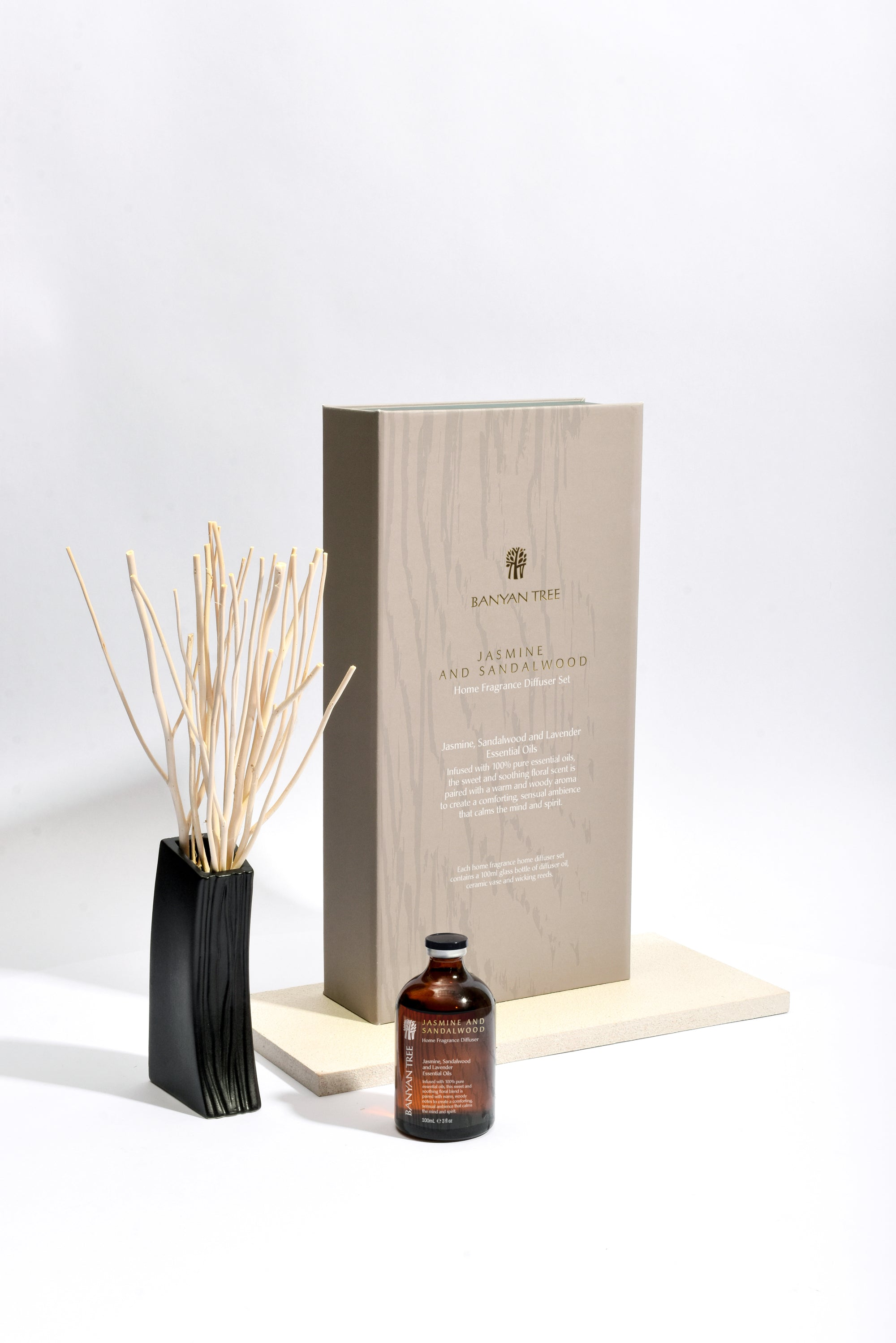 Jasmine and Sandalwood Home Fragrance Diffuser Set - Banyan Tree Gallery