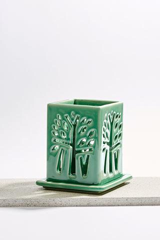 Banyan Tree Candle Holder - M - Green - Banyan Tree Gallery