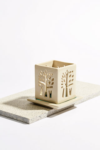 Leaf Cut Candle Holder in Ivory