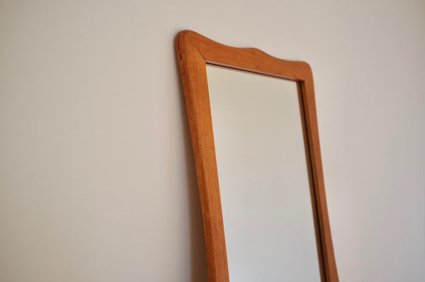 Sculptural teak wall mirror