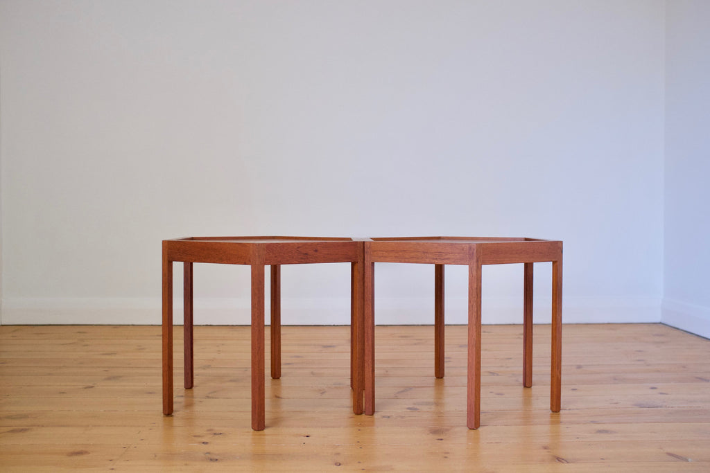 A pair of Danish side tables