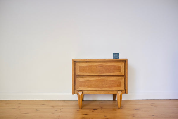 Oak and walnut nightstand