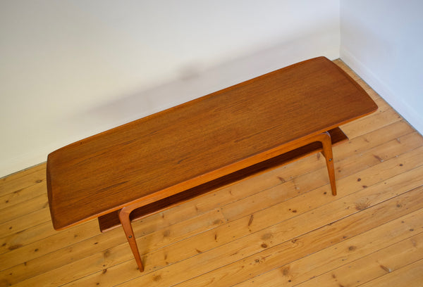 Teak Danish coffee table with under shelf
