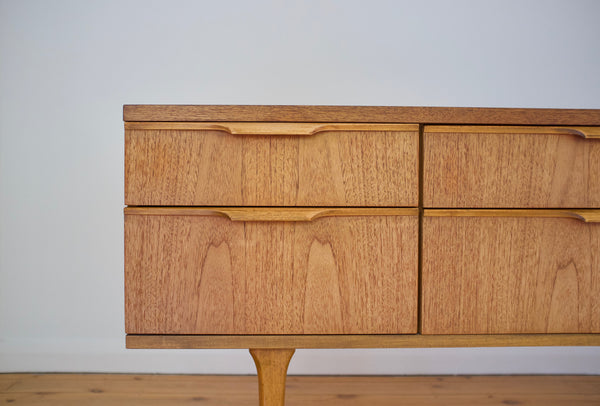 Low teak drawer chest