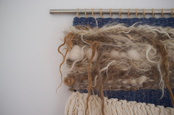 Woven wall hanging - Diggle Tweed Blue