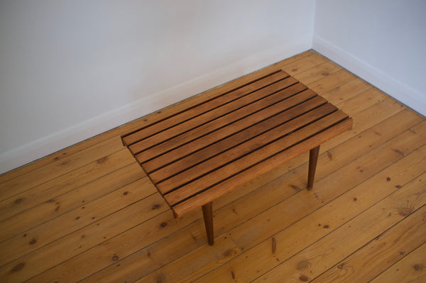 Walnut slatted bench