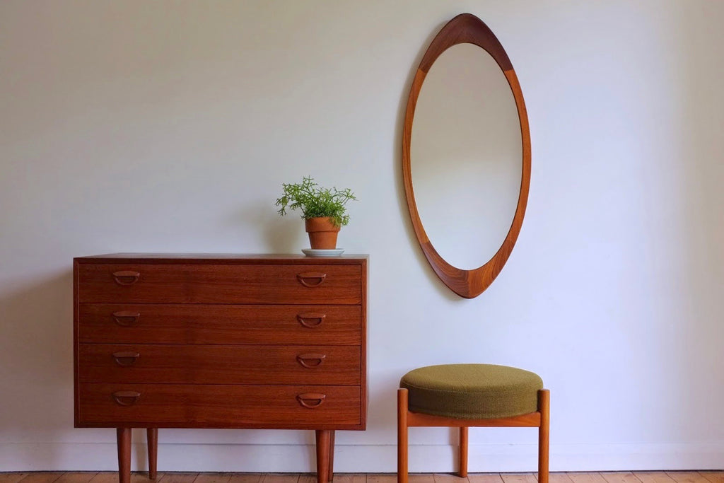 Swedish teak wall mirror