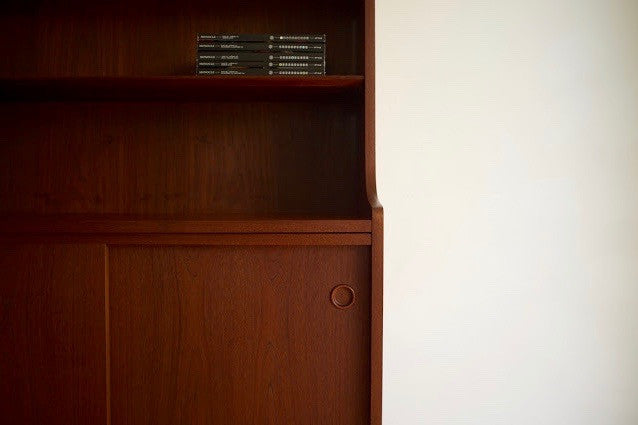 Danish teak bookcase with storage