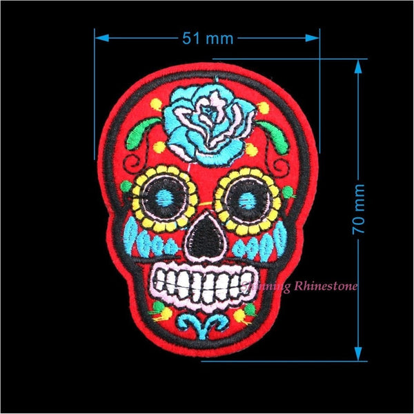8pcs/Pack Mixed Skull Clothes Patch Fabric Badges DIY Embroidered Patches Iron On-Bohemian Brunch