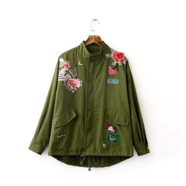 Army Green Floral Embroidery Bomber Jacket-Bohemian Brunch