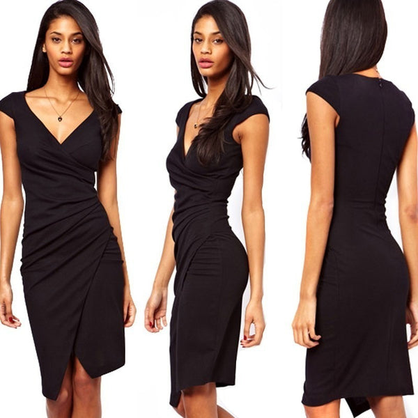 Black Elegant Wrap Pencil Dress Plus Sizes-Bohemian Brunch
