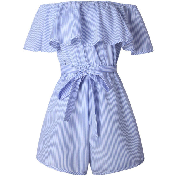 Blue and White Striped Shoulder Romper-Bohemian Brunch