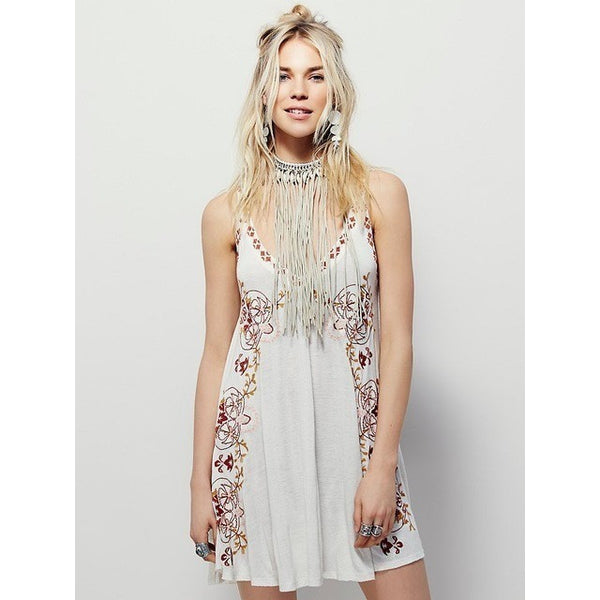 Bohemian Print Sleeveless Embroidery Mini Dress-Bohemian Brunch