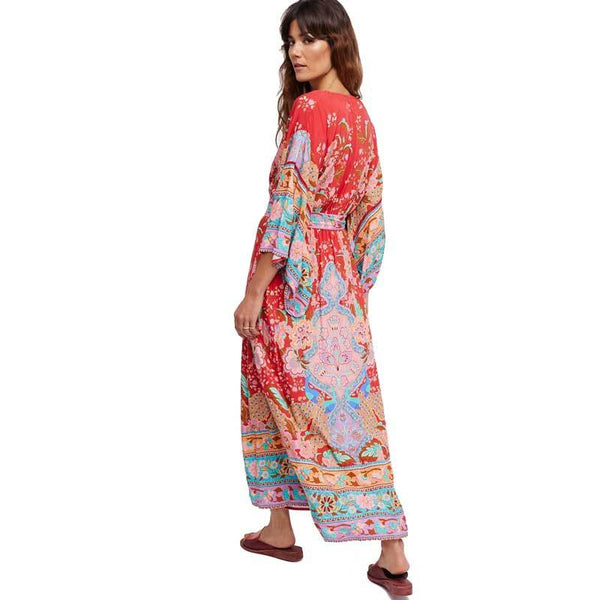 Bohemian Red Floral Printed Boho Kimono Dress-Bohemian Brunch