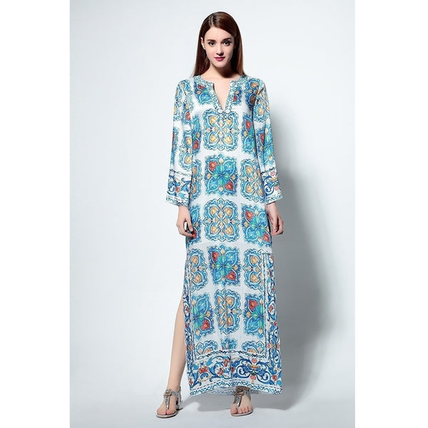 Boho Beach Beaded Floral Print Maxi Long Kaftan Dress-Bohemian Brunch
