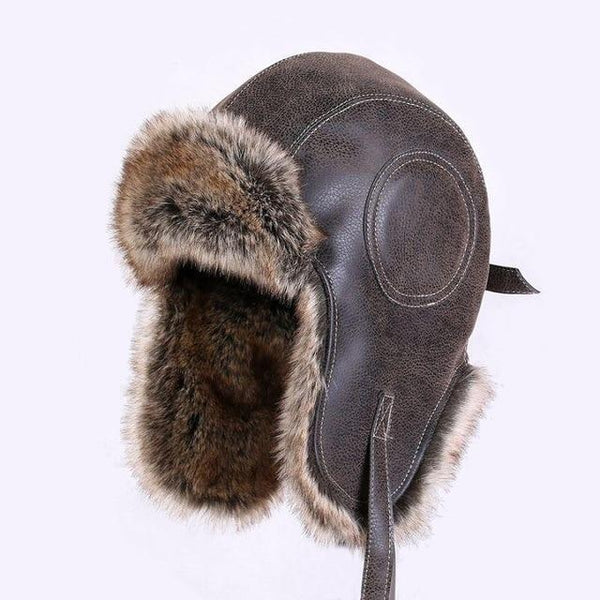 Faux Leather Fur Winter Bomber Hat Russian Trapper Hat Aviator Trooper Snow Cap-Bohemian Brunch