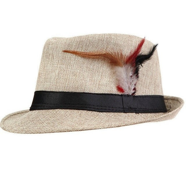 Fedora Trilby Gangster Boho Hat with Feathers-Bohemian Brunch