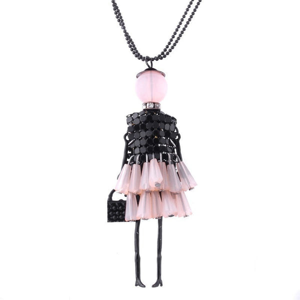 Girl Doll Pendant Necklace-Bohemian Brunch