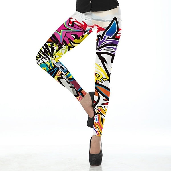 Grafitti Printed Womens Leggings Prints Rainbow Sportswear-Bohemian Brunch